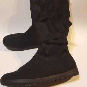 Black faux suede midcalf  wrap boots Sz 6